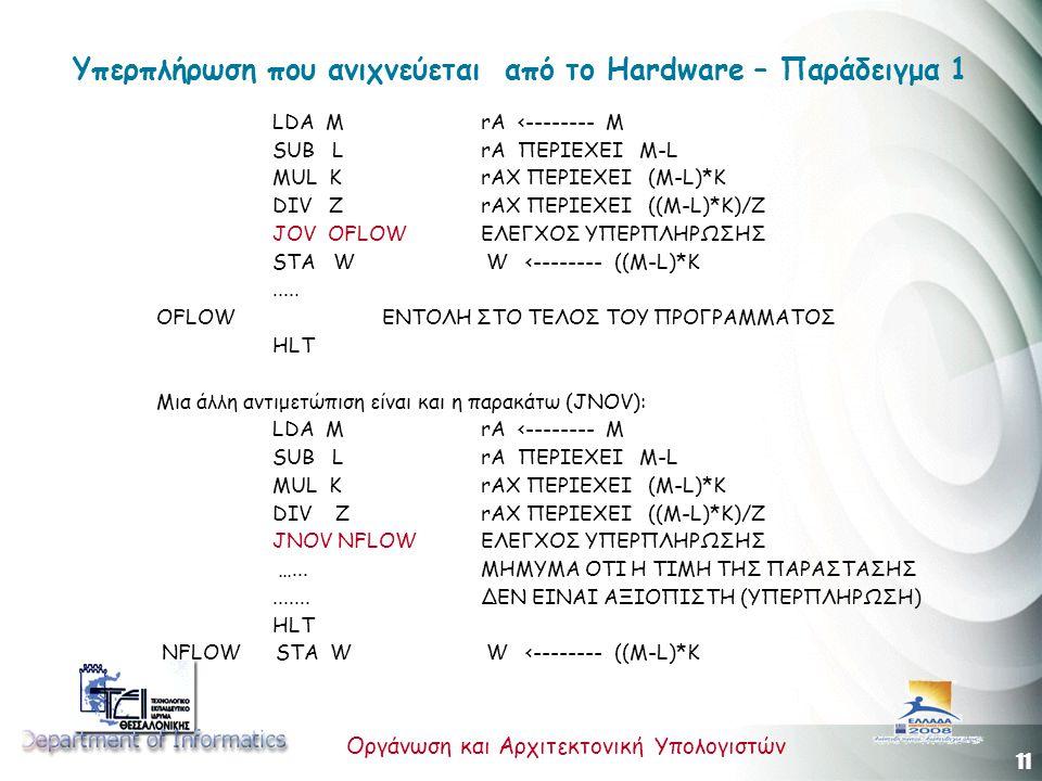 11 Οργάνωση και Αρχιτεκτονική Υπολογιστών Υπερπλήρωση που ανιχνεύεται από το Hardware – Παράδειγμα 1 LDA M rA <-------- M SUB L rA ΠΕΡΙΕΧΕΙ M-L MUL K rAX ΠΕΡΙΕΧΕΙ (M-L)*K DIV Z rAX ΠΕΡΙΕΧΕΙ ((M-L)*K)/Z JOV OFLOW ΕΛΕΓΧΟΣ ΥΠΕΡΠΛΗΡΩΣΗΣ STA W W <-------- ((M-L)*K.....