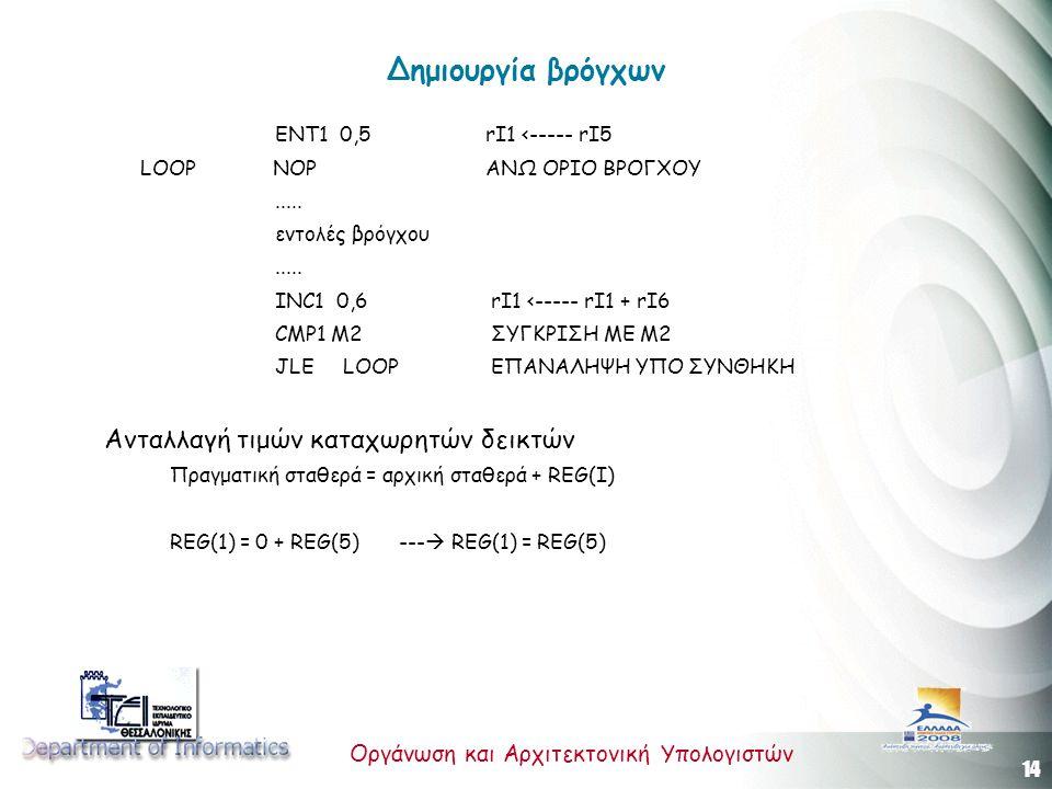 14 Οργάνωση και Αρχιτεκτονική Υπολογιστών Δημιουργία βρόγχων ENT1 0,5 rΙ1 <----- rI5 LOOP NOP ΑΝΩ ΟΡΙΟ ΒΡΟΓΧΟΥ..... εντολές βρόγχου..... INC1 0,6 rI1