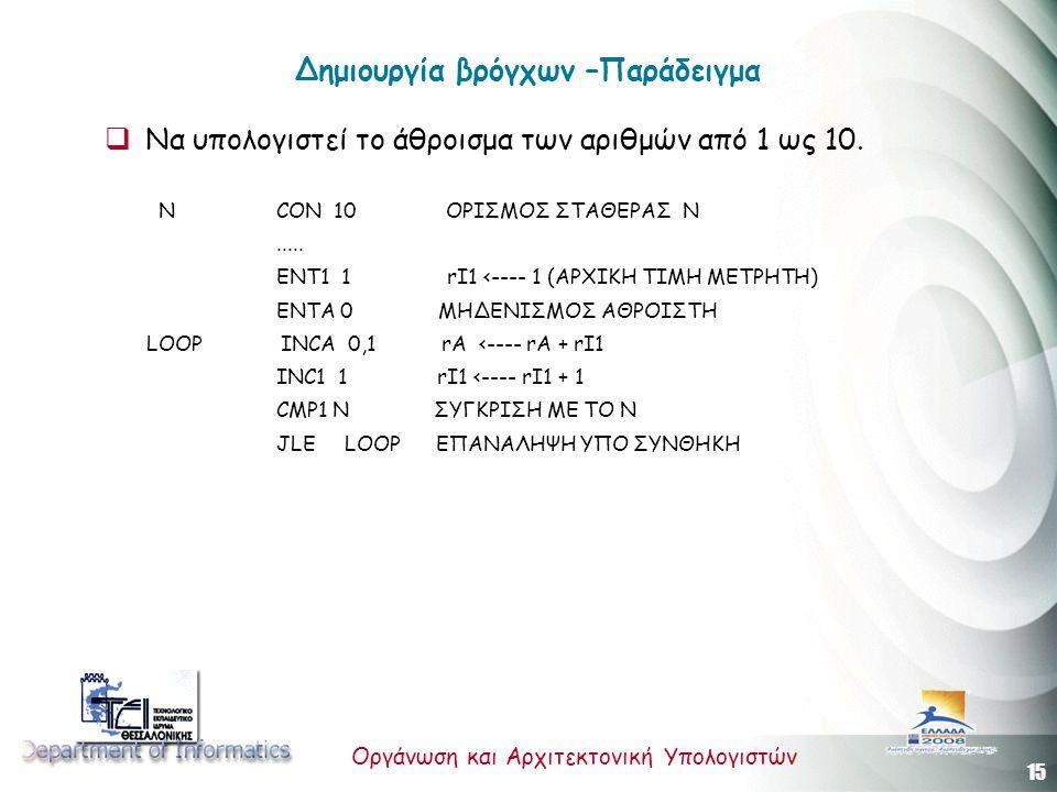 15 Οργάνωση και Αρχιτεκτονική Υπολογιστών Δημιουργία βρόγχων –Παράδειγμα  Να υπολογιστεί το άθροισμα των αριθμών από 1 ως 10.