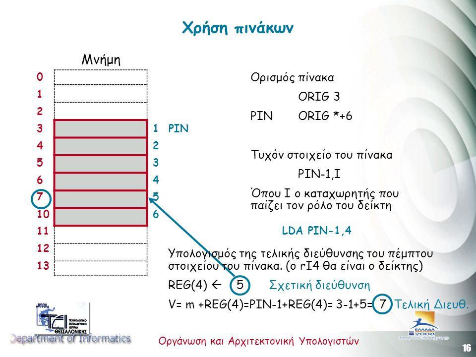 16 Οργάνωση και Αρχιτεκτονική Υπολογιστών Χρήση πινάκων 0 1 2 3 4 5 6 7 10 11 12 13 Μνήμη Ορισμός πίνακα ORIG 3 PINORIG *+6 Τυχόν στοιχείο του πίνακα