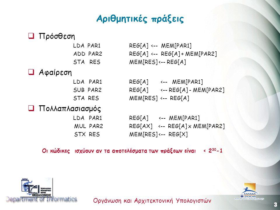4 Οργάνωση και Αρχιτεκτονική Υπολογιστών Αριθμητικές πράξεις  Διαίρεση * ΦΟΡΤΩΣΗ ΔΙΑΙΡΕΤΕΟΥ (A ΤΡΟΠΟΣ) LDX PAR1 ΦΟΡΤΩΣΗ ΤΟΥ ΜΕΓΕΘΟΥΣ ΣΤΟΝ rAX LDA PAR1(0:0) ΦΟΡΤΩΣΗ ΤΟΥ ΠΡΟΣΗΜΟΥ ΣΤΟΝ rAX DIV PAR2 ΔΙΑΙΡΕΣΗ * ΦΟΡΤΩΣΗ ΔΙΑΙΡΕΤΕΟΥ (Β ΤΡΟΠΟΣ) LDA PAR1 ΦΟΡΤΩΣΗ ΤΟΥ PAR1 ΣΤΟΝ rA SRAX 5 ΜΕΤΑΤΟΠΙΣΗ ΤΟΥ ΜΕΓΕΘΟΥΣ DIV PAR2 ΔΙΑΙΡΕΣΗ