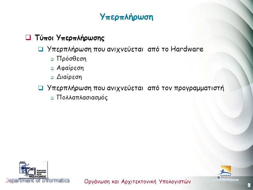 10 Οργάνωση και Αρχιτεκτονική Υπολογιστών Υπερπλήρωση που ανιχνεύεται από το Hardware  Εντολή JOV ΑΝ ΣΥ = ΟΝ ΤΟΤΕ ο ΣΥ παίρνει την τιμή ΟFF ο καταχωρητής J παίρνει την τρέχουσα τιμή του PC ο PC παίρνει την τελική διεύθυνση του παράγοντα της εντολής JOV ΔΙΑΦΟΡΕΤΙΚΑ το πρόγραμμα πηγαίνει στην επόμενη εντολή  Εντολή JNOV ΑΝ ΣΥ = ΟFF ΤΟΤΕ ο καταχωρητής J παίρνει την τρέχουσα τιμή του PC ο PC παίρνει την τελική διεύθυνση του παράγοντα της εντολής JOV ΔΙΑΦΟΡΕΤΙΚΑ ο ΣΥ παίρνει την τιμή ΟFF το πρόγραμμα πηγαίνει στην επόμενη εντολή