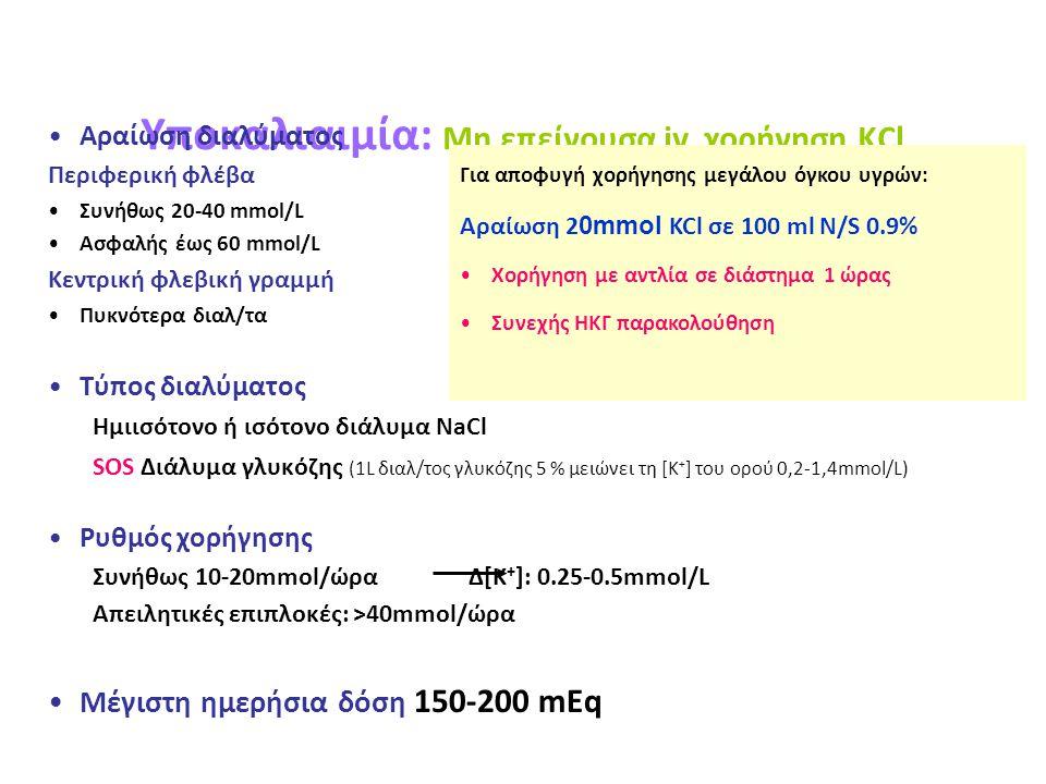 Yποκαλιαιμία: Μη επείγουσα iv χορήγηση KCl Αραίωση διαλύματος Περιφερική φλέβα Συνήθως 20-40 mmol/L Ασφαλής έως 60 mmol/L Κεντρική φλεβική γραμμή Πυκν