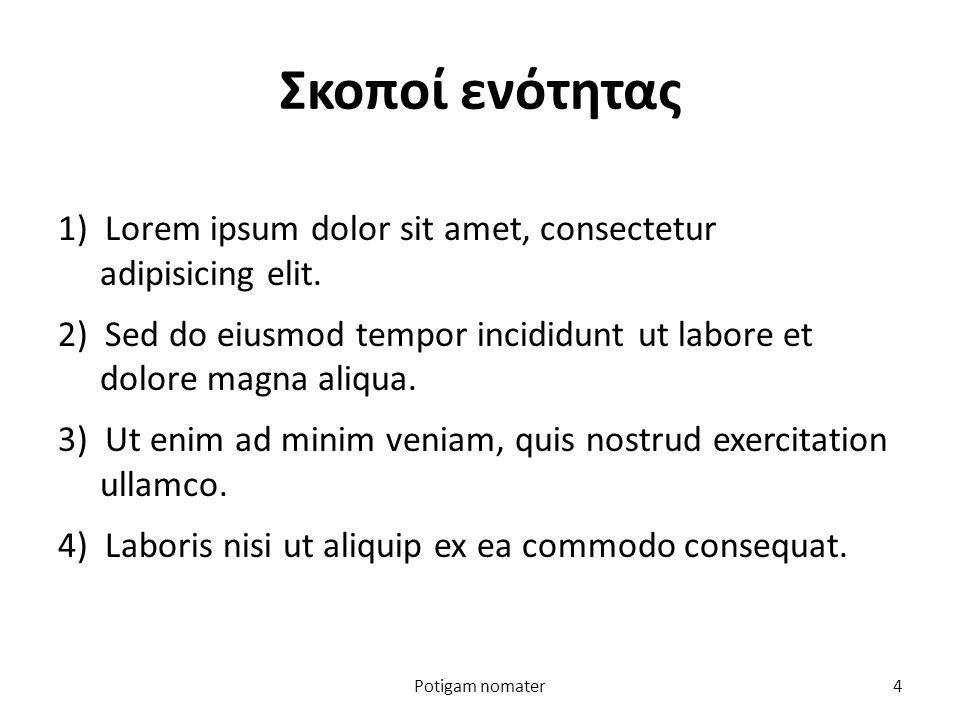 Σκοποί ενότητας 1) Lorem ipsum dolor sit amet, consectetur adipisicing elit.