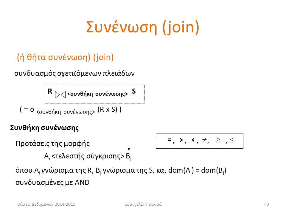 Ευαγγελία Πιτουρά43 (ή θήτα συνένωση) (join) συνδυασμός σχετιζόμενων πλειάδων R S (  σ (R x S) ) =, >, <, , ,  Συνθήκη συνένωσης A i B j όπου A i γνώρισμα της R, B j γνώρισμα της S, και dom(A i ) = dom(B j ) Προτάσεις της μορφής συνδυασμένες με AND Συνένωση (join) Βάσεις Δεδομένων 2014-2015
