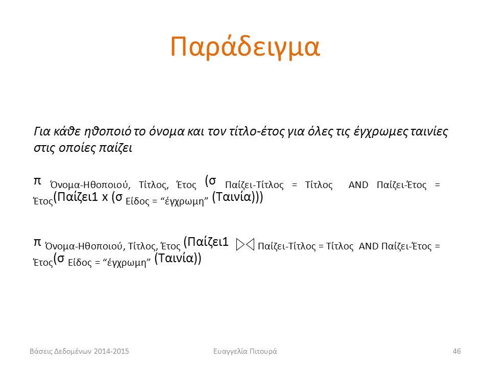 Ευαγγελία Πιτουρά46 Για κάθε ηθοποιό το όνομα και τον τίτλο-έτος για όλες τις έγχρωμες ταινίες στις οποίες παίζει π Όνομα-Ηθοποιού, Τίτλος, Έτος (σ Παίζει-Τίτλος = Τίτλος AND Παίζει-Έτος = Έτος (Παίζει1 x (σ Είδος = έγχρωμη (Ταινία))) π Όνομα-Ηθοποιού, Τίτλος, Έτος (Παίζει1 Παίζει-Τίτλος = Τίτλος AND Παίζει-Έτος = Έτος (σ Είδος = έγχρωμη (Ταινία)) Παράδειγμα Βάσεις Δεδομένων 2014-2015
