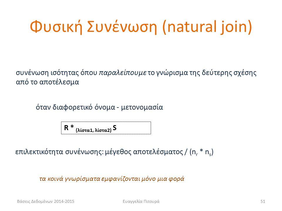 Ευαγγελία Πιτουρά51 συνένωση ισότητας όπου παραλείπουμε το γνώρισμα της δεύτερης σχέσης από το αποτέλεσμα όταν διαφορετικό όνομα - μετονομασία R * (λίστα1, λίστα2) S επιλεκτικότητα συνένωσης: μέγεθος αποτελέσματος / (n r * n s ) Φυσική Συνένωση (natural join) τα κοινά γνωρίσματα εμφανίζονται μόνο μια φορά Βάσεις Δεδομένων 2014-2015