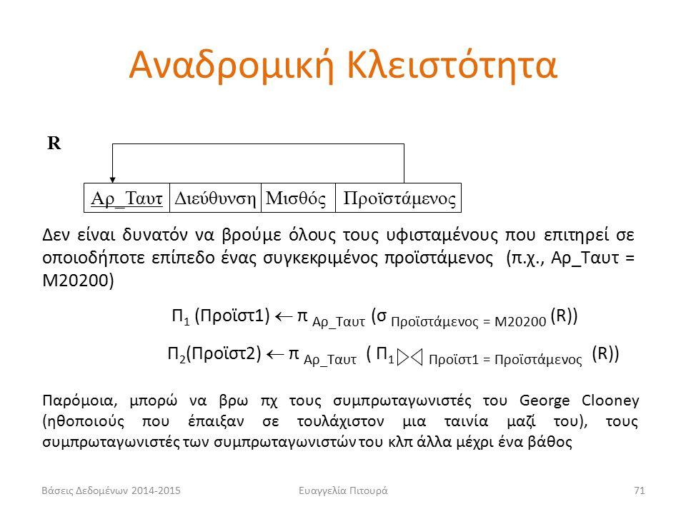 Ευαγγελία Πιτουρά71 Αρ_Ταυτ Διεύθυνση Μισθός Προϊστάμενος Δεν είναι δυνατόν να βρούμε όλους τους υφισταμένους που επιτηρεί σε οποιοδήποτε επίπεδο ένας συγκεκριμένος προϊστάμενος (π.χ., Αρ_Ταυτ = Μ20200) R Π 1 (Προϊστ1)  π Αρ_Ταυτ (σ Προϊστάμενος = Μ20200 (R)) Π 2 (Προϊστ2)  π Αρ_Ταυτ ( Π 1 Προϊστ1 = Προϊστάμενος (R)) Παρόμοια, μπορώ να βρω πχ τους συμπρωταγωνιστές του George Clooney (ηθοποιούς που έπαιξαν σε τουλάχιστον μια ταινία μαζί του), τους συμπρωταγωνιστές των συμπρωταγωνιστών του κλπ άλλα μέχρι ένα βάθος Αναδρομική Κλειστότητα Βάσεις Δεδομένων 2014-2015