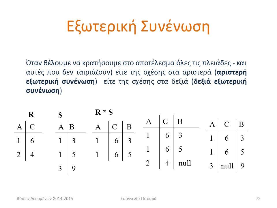 Ευαγγελία Πιτουρά72 Όταν θέλουμε να κρατήσουμε στο αποτέλεσμα όλες τις πλειάδες - και αυτές που δεν ταιριάζουν) είτε της σχέσης στα αριστερά (αριστερή εξωτερική συνένωση) είτε της σχέσης στα δεξιά (δεξιά εξωτερική συνένωση) R S Α C 1 6 2 4 Α B 1 3 1 5 3 9 Α C B 1 6 3 1 6 5 Α C B 1 6 3 1 6 5 2 4 null Α C B 1 6 3 1 6 5 3 null 9 R * S Εξωτερική Συνένωση Βάσεις Δεδομένων 2014-2015