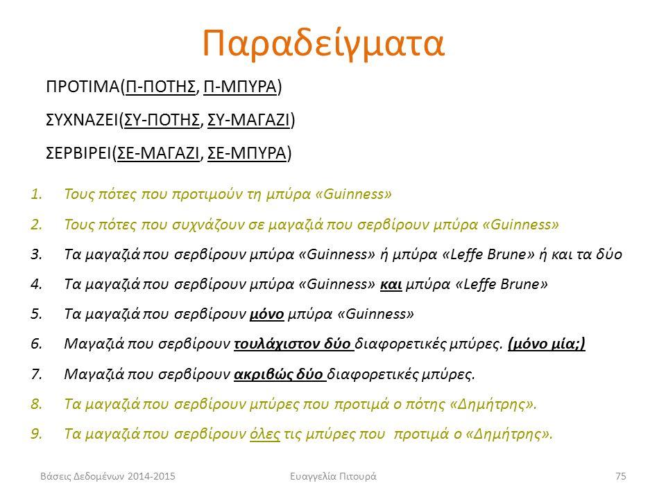Ευαγγελία Πιτουρά75 ΠΡΟΤΙΜΑ(Π-ΠΟΤΗΣ, Π-ΜΠΥΡΑ) ΣΥΧΝΑΖΕΙ(ΣΥ-ΠΟΤΗΣ, ΣΥ-ΜΑΓΑΖΙ) ΣΕΡΒΙΡΕΙ(ΣΕ-ΜΑΓΑΖΙ, ΣΕ-ΜΠΥΡΑ) 1.Τους πότες που προτιμούν τη μπύρα «Guinness» 2.Τους πότες που συχνάζουν σε μαγαζιά που σερβίρουν μπύρα «Guinness» 3.Tα μαγαζιά που σερβίρουν μπύρα «Guinness» ή μπύρα «Leffe Brune» ή και τα δύο 4.Tα μαγαζιά που σερβίρουν μπύρα «Guinness» και μπύρα «Leffe Brune» 5.Tα μαγαζιά που σερβίρουν μόνο μπύρα «Guinness» 6.Μαγαζιά που σερβίρουν τουλάχιστον δύο διαφορετικές μπύρες.