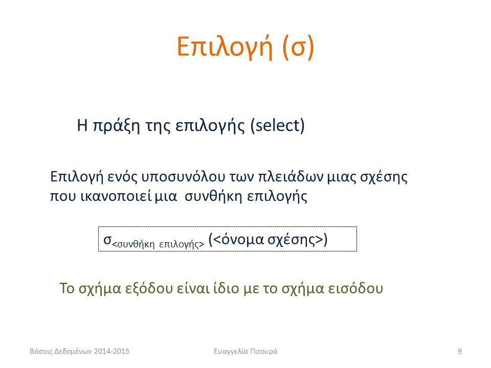 Ευαγγελία Πιτουρά9 Η πράξη της επιλογής (select) σ ( ) Επιλογή ενός υποσυνόλου των πλειάδων μιας σχέσης που ικανοποιεί μια συνθήκη επιλογής Επιλογή (σ) Το σχήμα εξόδου είναι ίδιο με το σχήμα εισόδου Βάσεις Δεδομένων 2014-2015