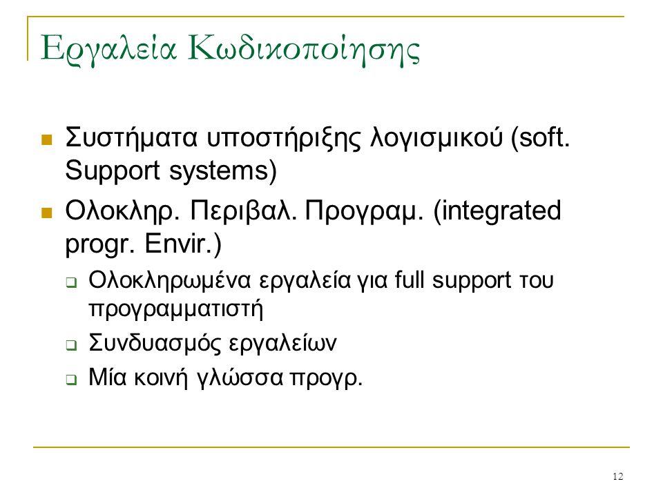 12 Εργαλεία Κωδικοποίησης Συστήματα υποστήριξης λογισμικού (soft. Support systems) Ολοκληρ. Περιβαλ. Προγραμ. (integrated progr. Envir.)  Ολοκληρωμέν