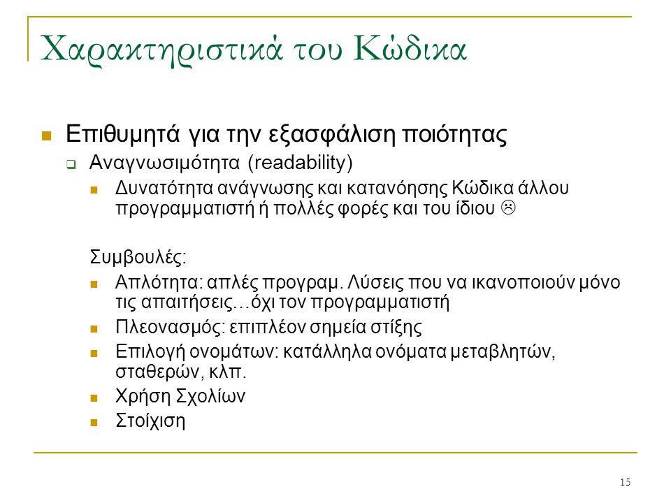 15 Χαρακτηριστικά του Κώδικα Επιθυμητά για την εξασφάλιση ποιότητας  Αναγνωσιμότητα (readability) Δυνατότητα ανάγνωσης και κατανόησης Κώδικα άλλου πρ