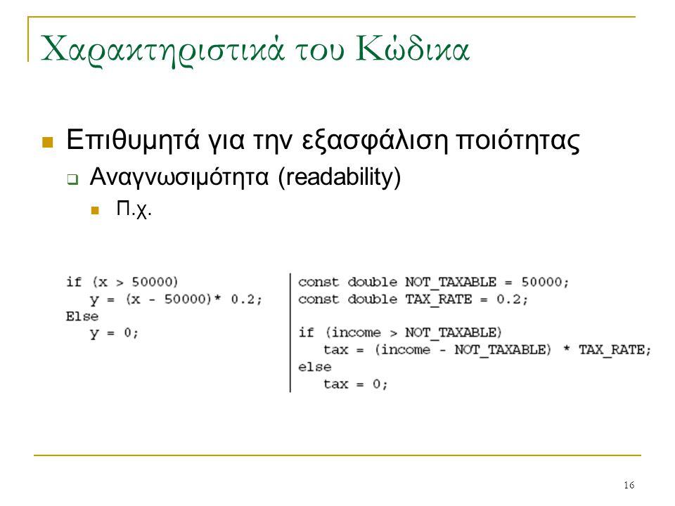 16 Χαρακτηριστικά του Κώδικα Επιθυμητά για την εξασφάλιση ποιότητας  Αναγνωσιμότητα (readability) Π.χ.