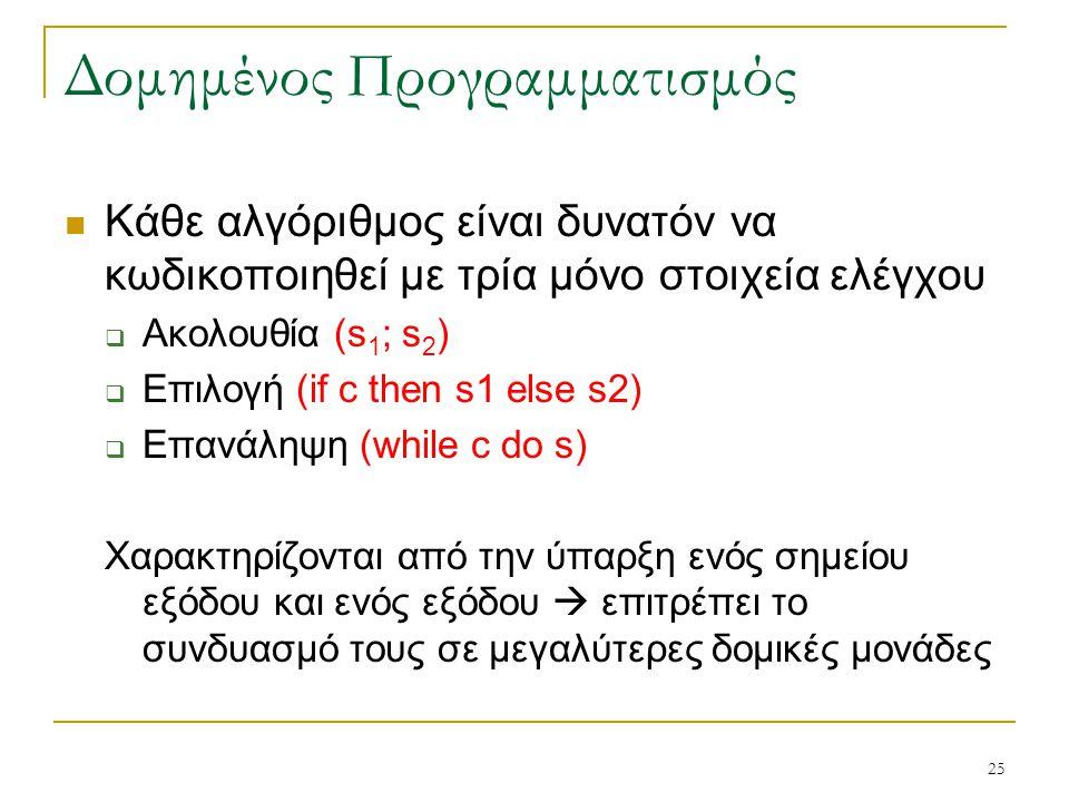 25 Δομημένος Προγραμματισμός Κάθε αλγόριθμος είναι δυνατόν να κωδικοποιηθεί με τρία μόνο στοιχεία ελέγχου  Ακολουθία (s 1 ; s 2 )  Επιλογή (if c the