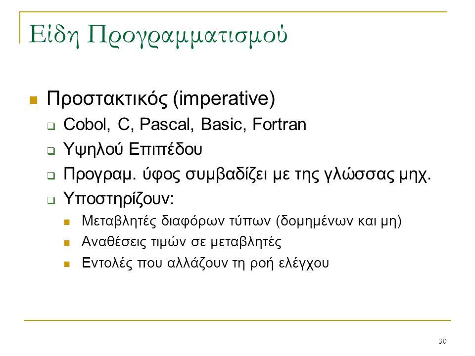 30 Είδη Προγραμματισμού Προστακτικός (imperative)  Cobol, C, Pascal, Basic, Fortran  Υψηλού Επιπέδου  Προγραμ. ύφος συμβαδίζει με της γλώσσας μηχ.