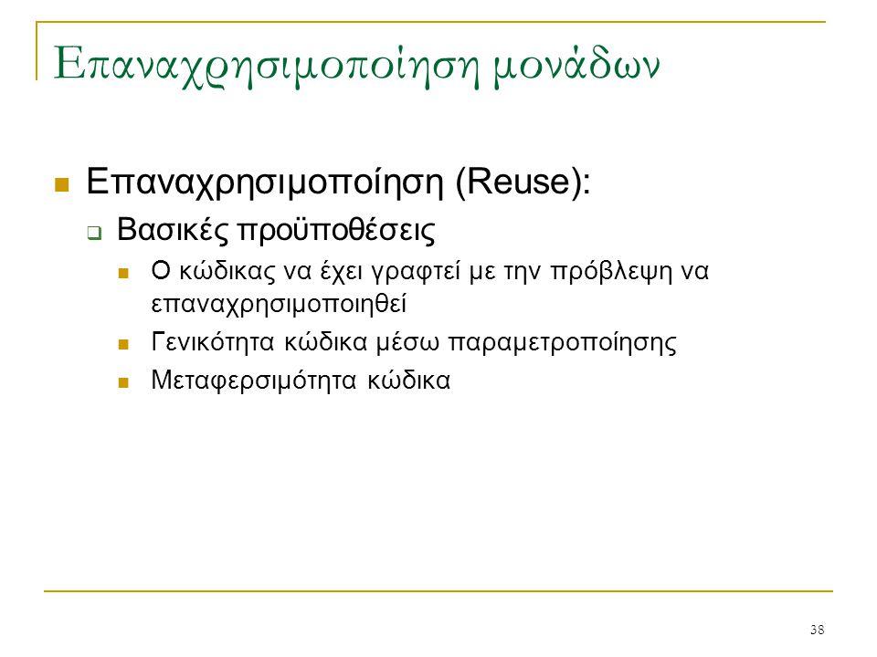38 Επαναχρησιμοποίηση μονάδων Επαναχρησιμοποίηση (Reuse):  Βασικές προϋποθέσεις Ο κώδικας να έχει γραφτεί με την πρόβλεψη να επαναχρησιμοποιηθεί Γενι