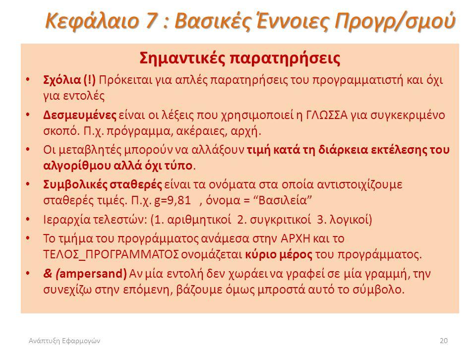 Ανάπτυξη Εφαρμογών20 Κεφάλαιο 7 : Βασικές Έννοιες Προγρ/σμού Σημαντικές παρατηρήσεις Σχόλια (!) Πρόκειται για απλές παρατηρήσεις του προγραμματιστή και όχι για εντολές Δεσμευμένες είναι οι λέξεις που χρησιμοποιεί η ΓΛΩΣΣΑ για συγκεκριμένο σκοπό.