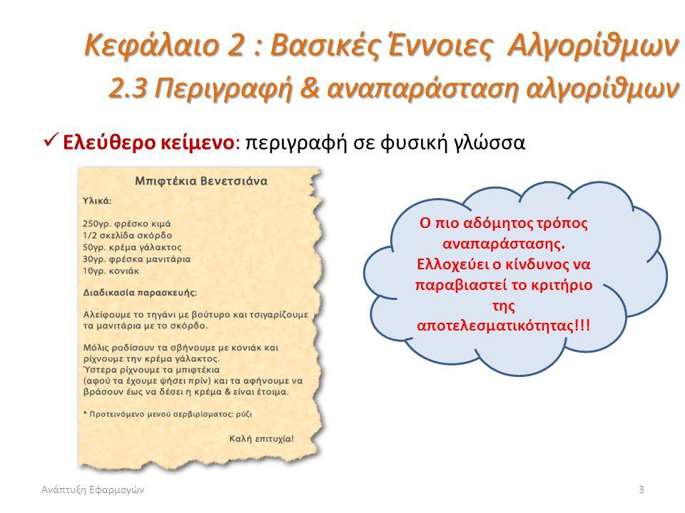 Ανάπτυξη Εφαρμογών4 Κεφάλαιο 2 : Βασικές Έννοιες Αλγορίθμων 2.3 Περιγραφή & αναπαράσταση αλγορίθμων Φυσική γλώσσα κατά βήματα: περιγραφή κατά βήματα Σαφώς καλύτερος τρόπος αναπαράστασης από το ελεύθερο κείμενο.