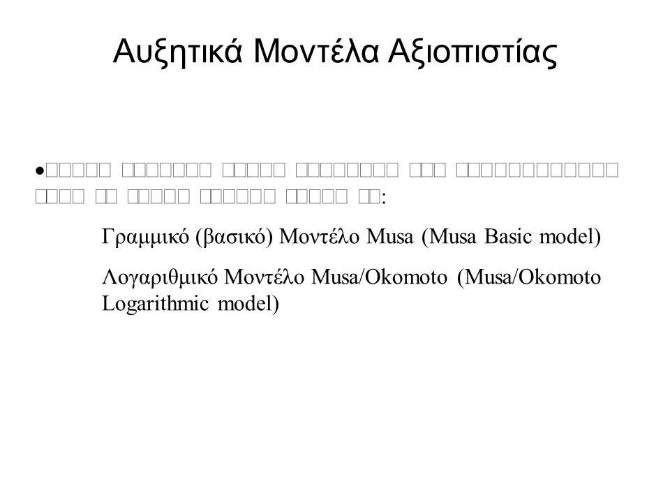  Π   Γραμμικό (βασικό) Μοντέλο Musa (Musa Basic model) Λογαριθμικό Μοντέλο Musa/Okomoto (Musa/Okomoto Logarithmic model) Αυξητικά Μοντέλα Αξιοπιστίας