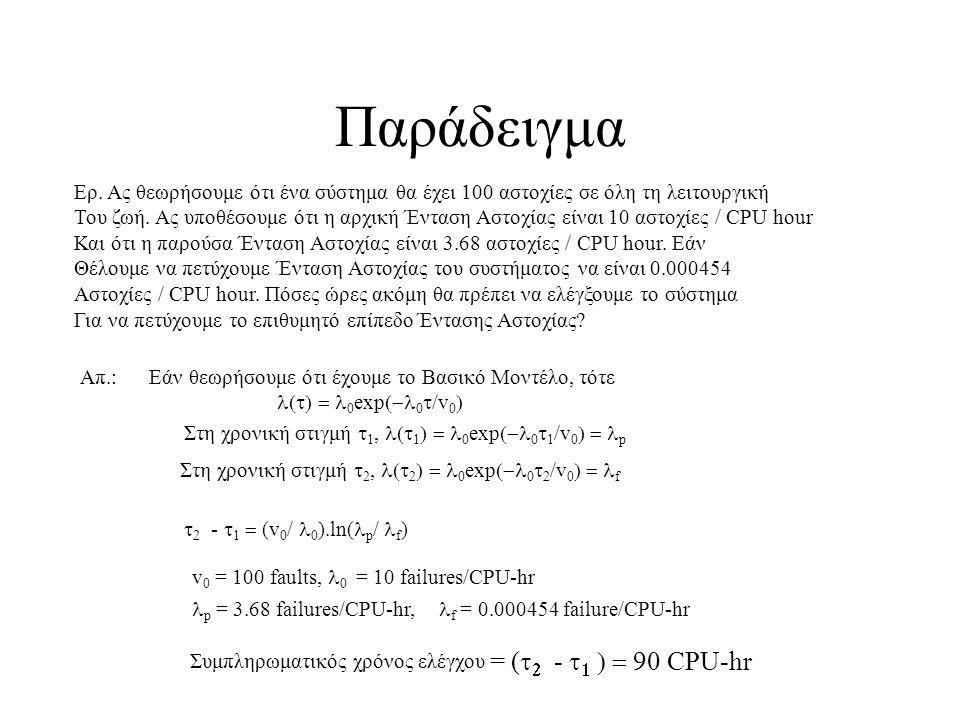 Παράδειγμα Ερ. Ας θεωρήσουμε ότι ένα σύστημα θα έχει 100 αστοχίες σε όλη τη λειτουργική Του ζωή.