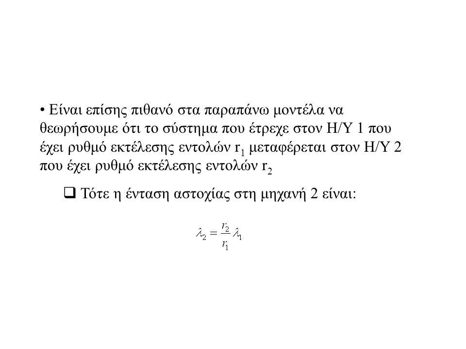 Είναι επίσης πιθανό στα παραπάνω μοντέλα να θεωρήσουμε ότι το σύστημα που έτρεχε στον Η/Υ 1 που έχει ρυθμό εκτέλεσης εντολών r 1 μεταφέρεται στον Η/Υ 2 που έχει ρυθμό εκτέλεσης εντολών r 2  Τότε η ένταση αστοχίας στη μηχανή 2 είναι: