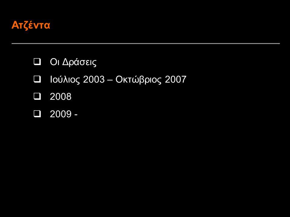 2 Ατζέντα  Οι Δράσεις  Ιούλιος 2003 – Οκτώβριος 2007  2008  2009 -