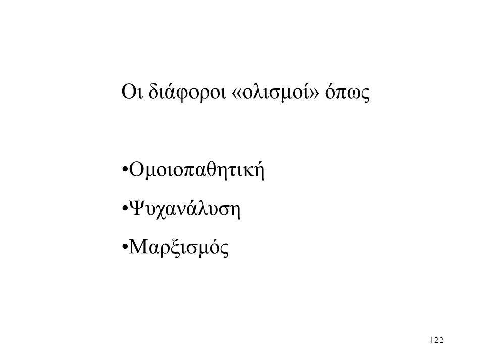 122 Οι διάφοροι «ολισμοί» όπως Ομοιοπαθητική Ψυχανάλυση Μαρξισμός