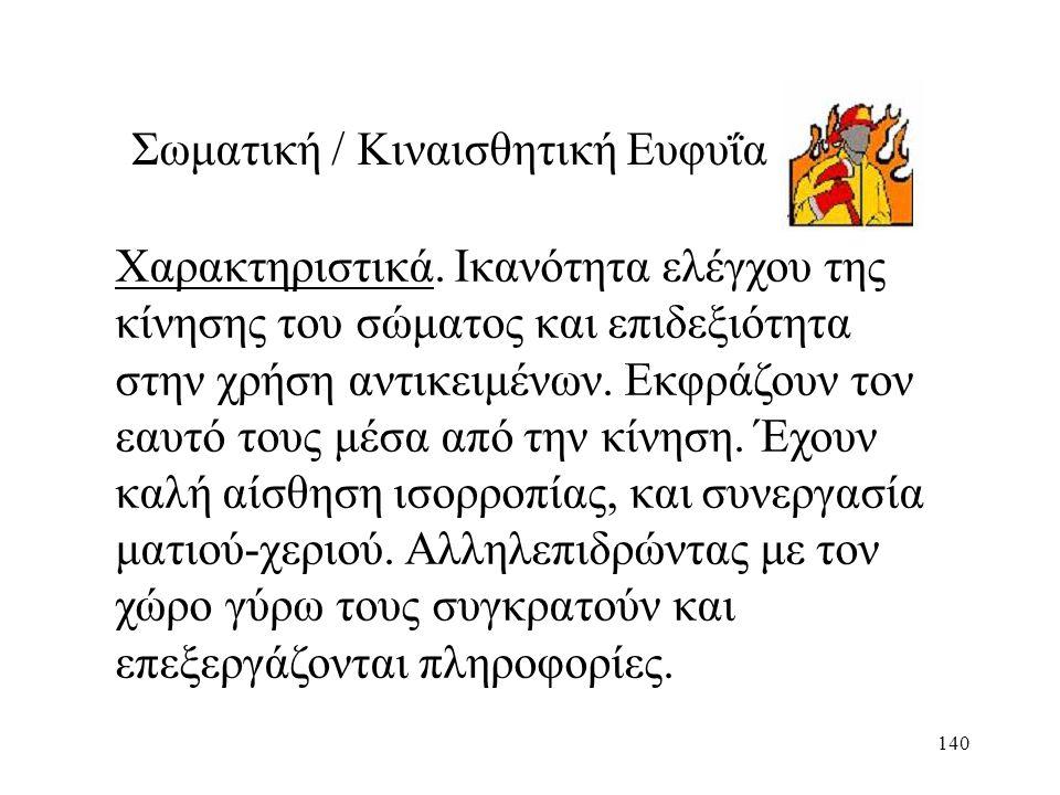140 Σωματική / Κιναισθητική Ευφυΐα Χαρακτηριστικά.