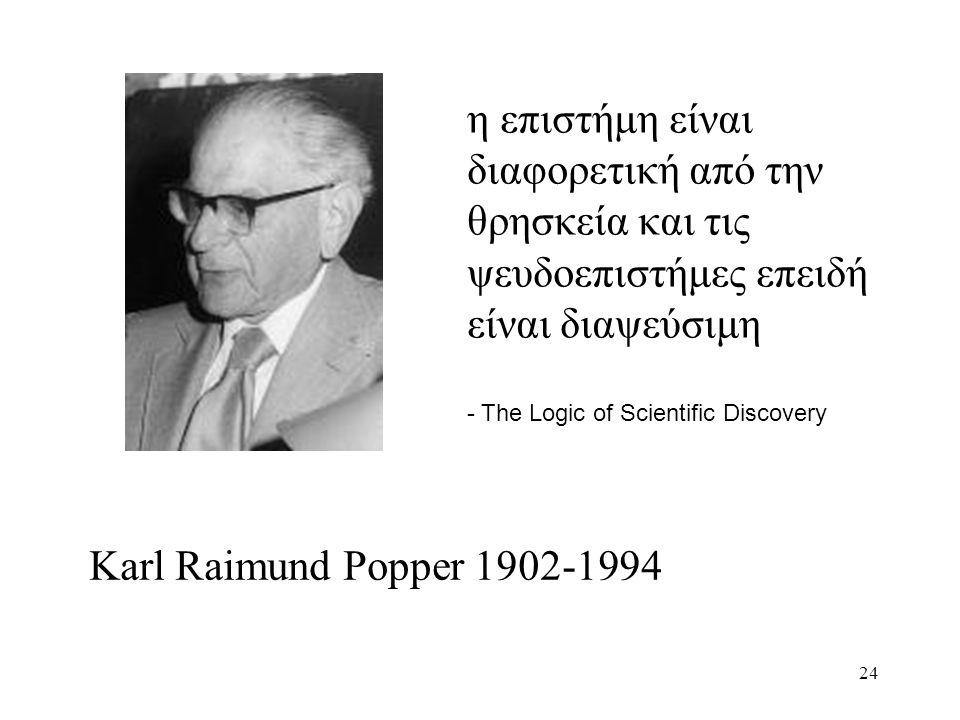 24 η επιστήμη είναι διαφορετική από την θρησκεία και τις ψευδοεπιστήμες επειδή είναι διαψεύσιμη - The Logic of Scientific Discovery Karl Raimund Popper 1902-1994
