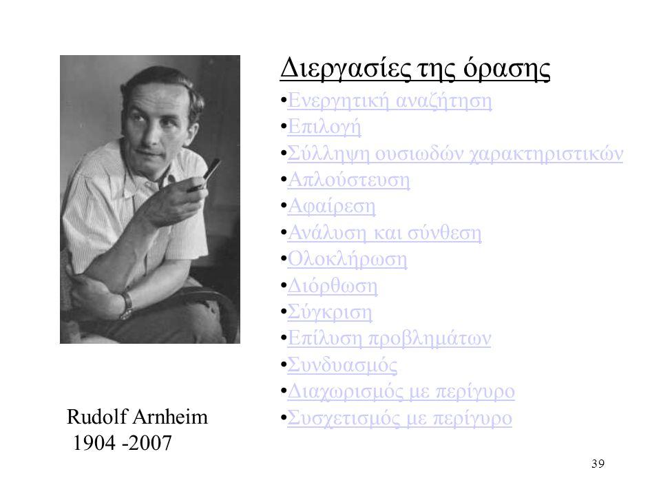 39 Rudolf Arnheim 1904 -2007 Διεργασίες της όρασης Ενεργητική αναζήτηση Επιλογή Σύλληψη ουσιωδών χαρακτηριστικών Απλούστευση Αφαίρεση Ανάλυση και σύνθεση Ολοκλήρωση Διόρθωση Σύγκριση Επίλυση προβλημάτων Συνδυασμός Διαχωρισμός με περίγυρο Συσχετισμός με περίγυρο