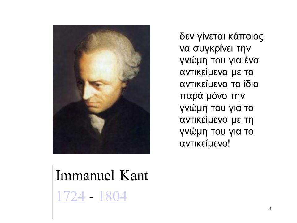 4 Immanuel Kant 17241724 - 18041804 δεν γίνεται κάποιος να συγκρίνει την γνώμη του για ένα αντικείμενο με το αντικείμενο το ίδιο παρά μόνο την γνώμη του για το αντικείμενο με τη γνώμη του για το αντικείμενο!