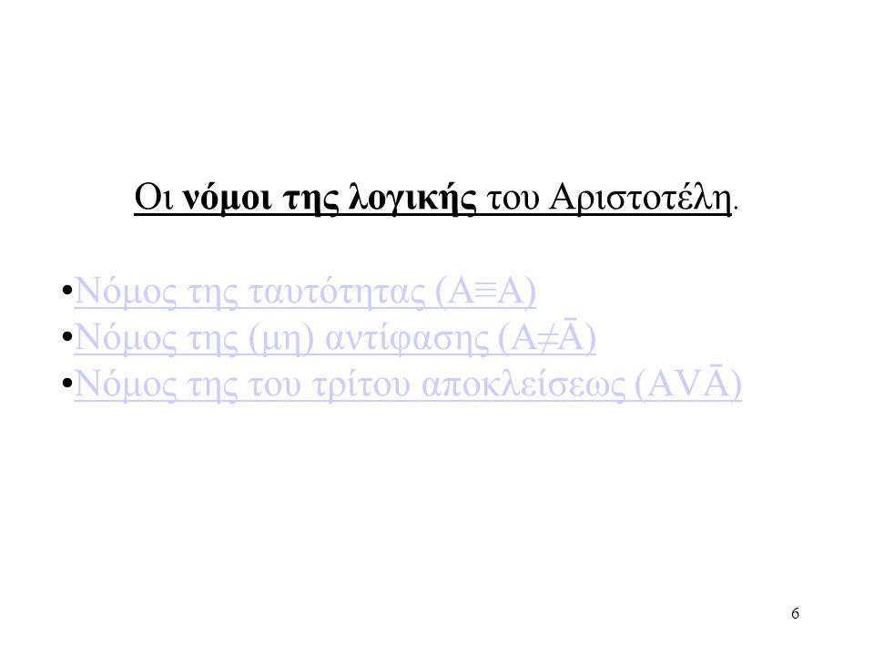 6 Οι νόμοι της λογικής του Αριστοτέλη.