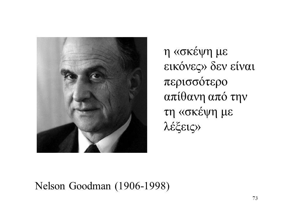 73 Nelson Goodman (1906-1998) η «σκέψη με εικόνες» δεν είναι περισσότερο απίθανη από την τη «σκέψη με λέξεις»