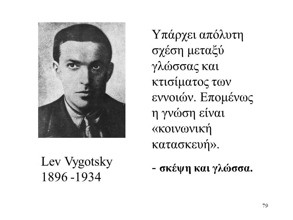 79 Lev Vygotsky 1896 -1934 Υπάρχει απόλυτη σχέση μεταξύ γλώσσας και κτισίματος των εννοιών.
