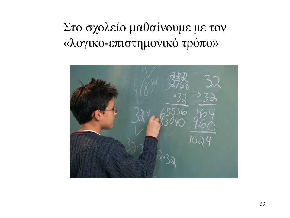 89 Στο σχολείο μαθαίνουμε με τον «λογικο-επιστημονικό τρόπο»