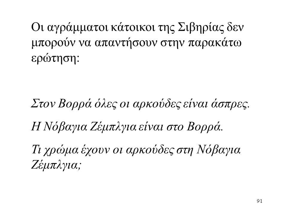 91 Οι αγράμματοι κάτοικοι της Σιβηρίας δεν μπορούν να απαντήσουν στην παρακάτω ερώτηση: Στον Βορρά όλες οι αρκούδες είναι άσπρες.