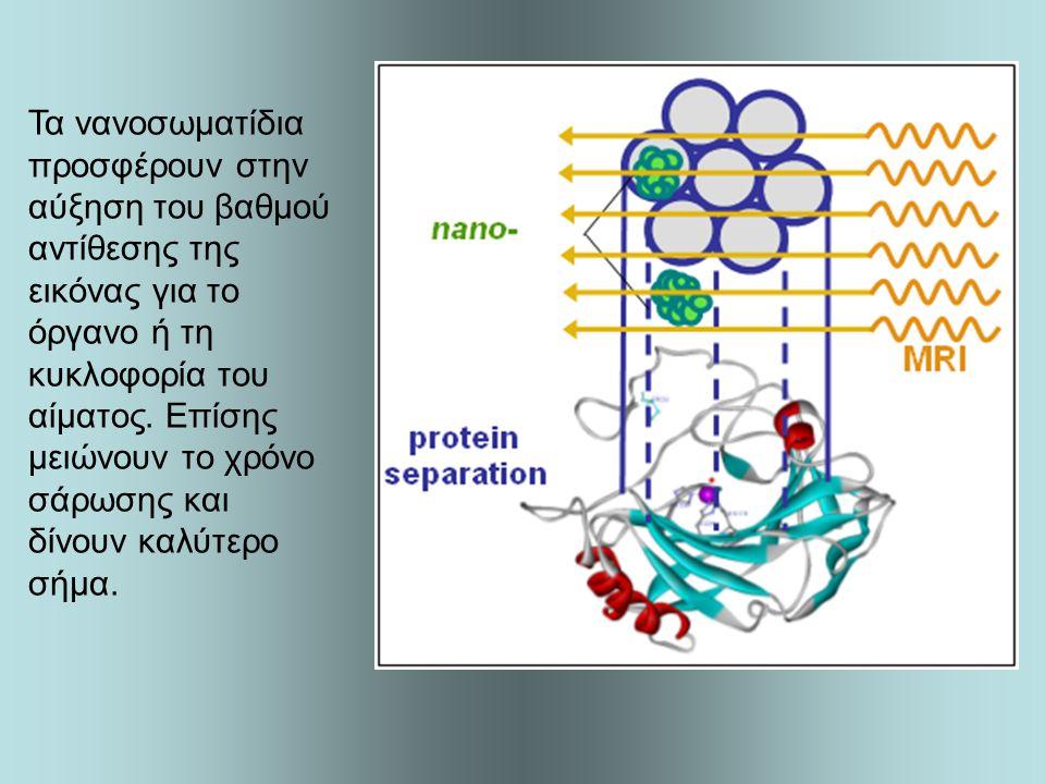 Τα νανοσωματίδια προσφέρουν στην αύξηση του βαθμού αντίθεσης της εικόνας για το όργανο ή τη κυκλοφορία του αίματος. Επίσης μειώνουν το χρόνο σάρωσης κ