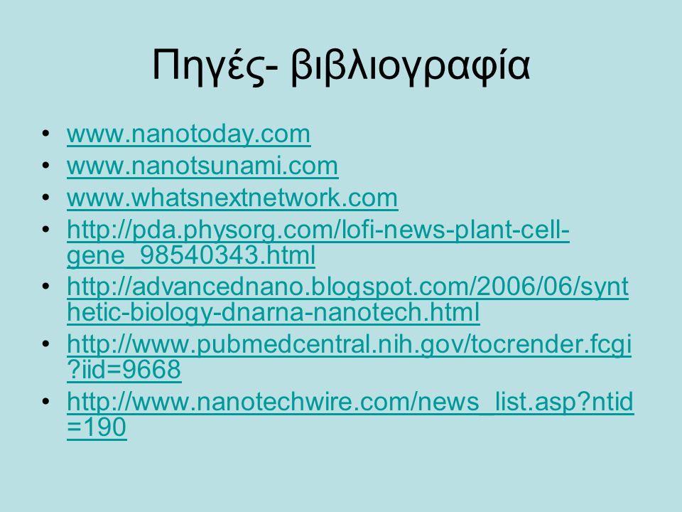 Πηγές- βιβλιογραφία www.nanotoday.com www.nanotsunami.comwww.nanotsunami.com www.whatsnextnetwork.com http://pda.physorg.com/lofi-news-plant-cell- gen