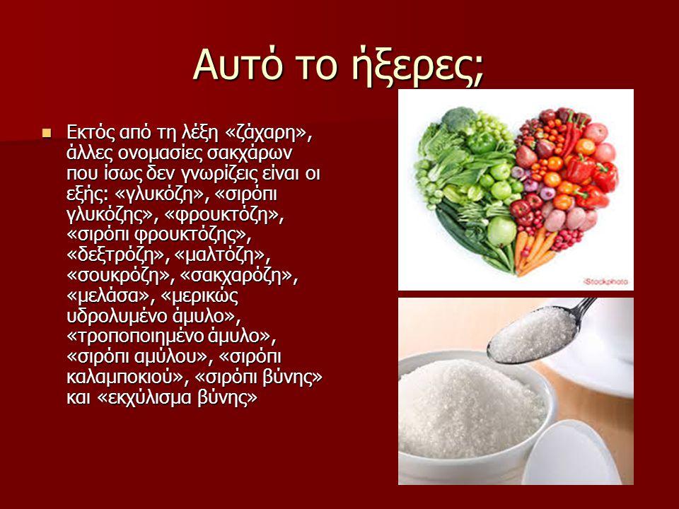 Αυτό το ήξερες; Εκτός από τη λέξη «ζάχαρη», άλλες ονομασίες σακχάρων που ίσως δεν γνωρίζεις είναι οι εξής: «γλυκόζη», «σιρόπι γλυκόζης», «φρουκτόζη», «σιρόπι φρουκτόζης», «δεξτρόζη», «μαλτόζη», «σουκρόζη», «σακχαρόζη», «μελάσα», «μερικώς υδρολυμένο άμυλο», «τροποποιημένο άμυλο», «σιρόπι αμύλου», «σιρόπι καλαμποκιού», «σιρόπι βύνης» και «εκχύλισμα βύνης»