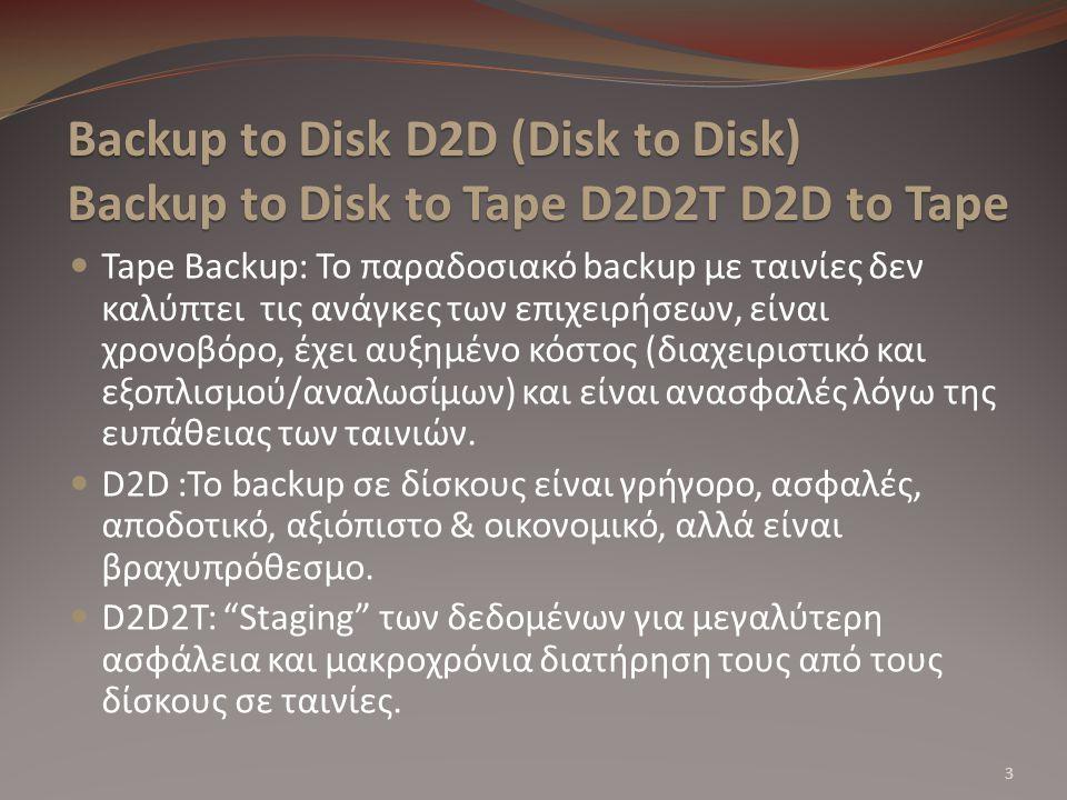 Backup to Disk D2D (Disk to Disk) Backup to Disk to Tape D2D2T D2D to Tape Tape Backup: Το παραδοσιακό backup με ταινίες δεν καλύπτει τις ανάγκες των επιχειρήσεων, είναι χρονοβόρο, έχει αυξημένο κόστος (διαχειριστικό και εξοπλισμού/αναλωσίμων) και είναι ανασφαλές λόγω της ευπάθειας των ταινιών.