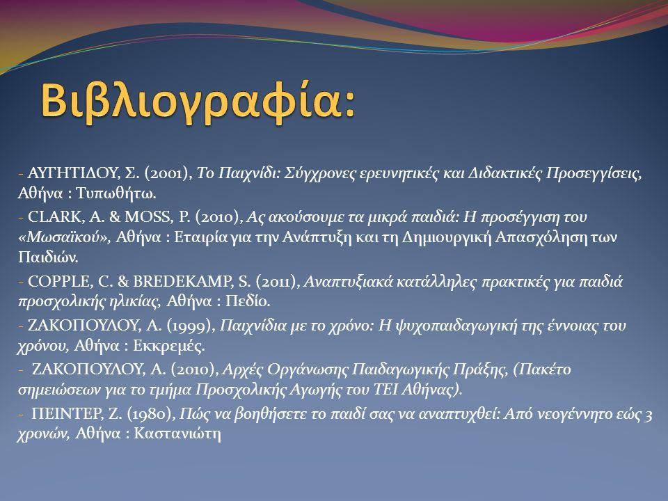- ΑΥΓΗΤΙΔΟΥ, Σ. (2001), Το Παιχνίδι: Σύγχρονες ερευνητικές και Διδακτικές Προσεγγίσεις, Αθήνα : Τυπωθήτω. - CLARK, Α. & MOSS, P. (2010), Ας ακούσουμε