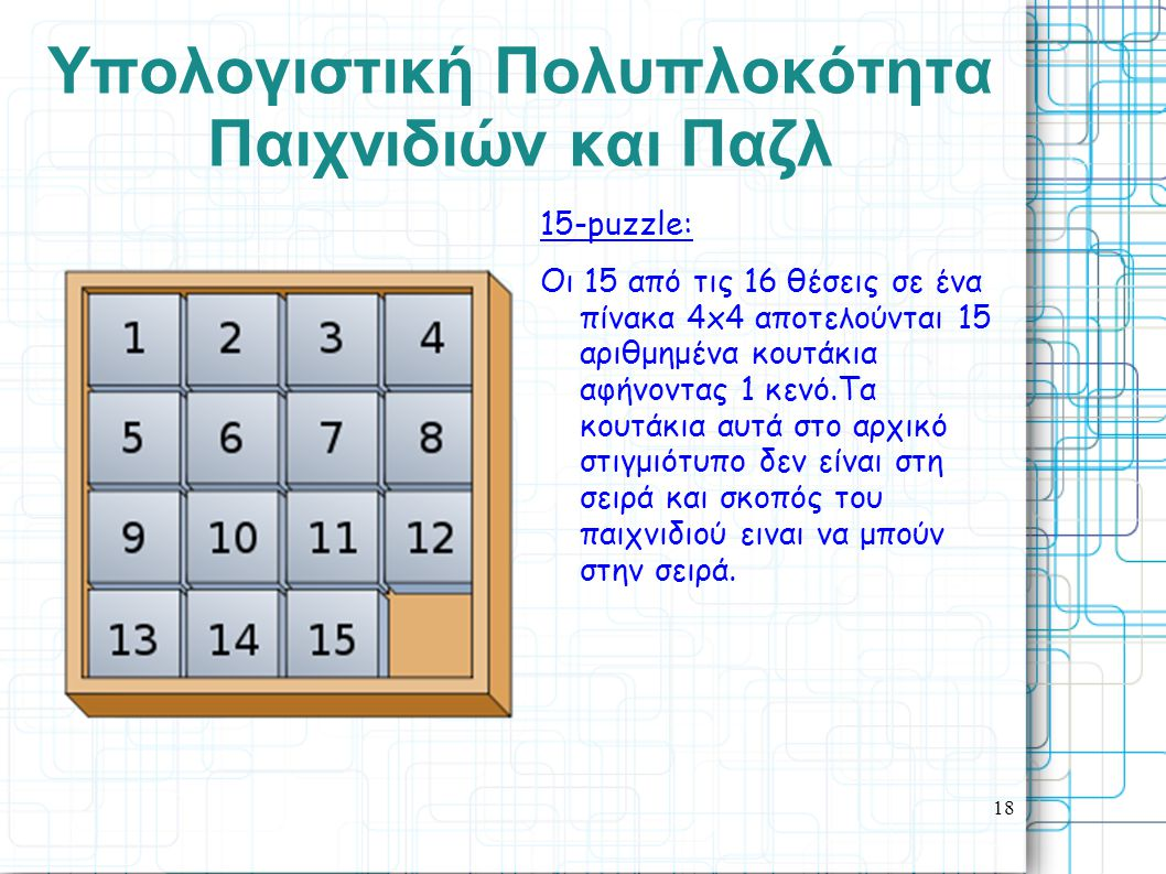 18 Yπολογιστική Πολυπλοκότητα Παιχνιδιών και Παζλ 15-puzzle: Οι 15 από τις 16 θέσεις σε ένα πίνακα 4x4 αποτελούνται 15 αριθμημένα κουτάκια αφήνοντας 1 κενό.Τα κουτάκια αυτά στο αρχικό στιγμιότυπο δεν είναι στη σειρά και σκοπός του παιχνιδιού ειναι να μπούν στην σειρά.
