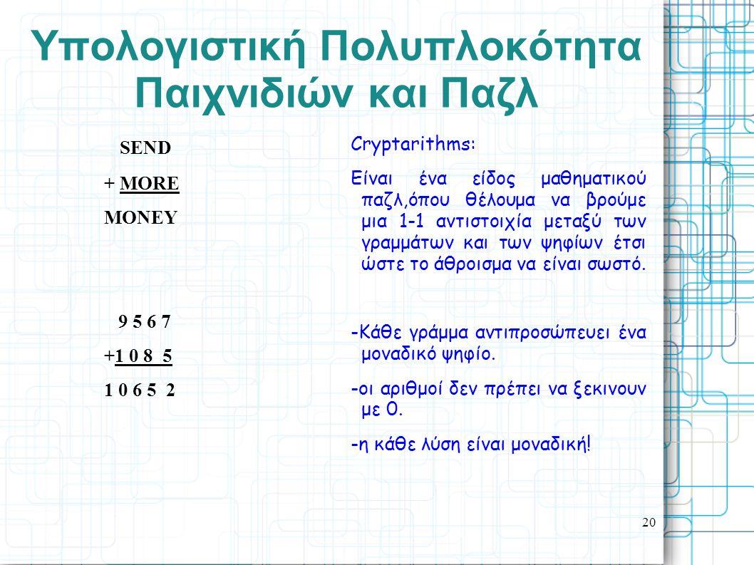 20 Yπολογιστική Πολυπλοκότητα Παιχνιδιών και Παζλ SEND + MORE MONEY 9 5 6 7 +1 0 8 5 1 0 6 5 2 Cryptarithms: Είναι ένα είδος μαθηματικού παζλ,όπου θέλ