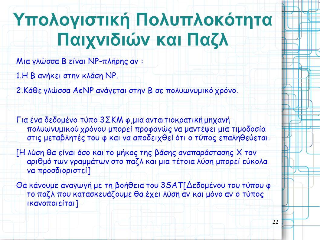 22 Yπολογιστική Πολυπλοκότητα Παιχνιδιών και Παζλ Μια γλώσσα Β είναι ΝΡ-πλήρης αν : 1.Η Β ανήκει στην κλάση ΝΡ. 2.Κάθε γλώσσα ΑєΝΡ ανάγεται στην Β σε