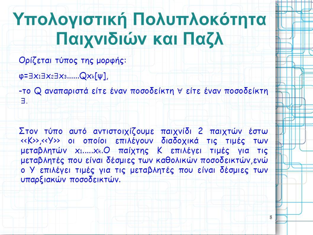 8 Yπολογιστική Πολυπλοκότητα Παιχνιδιών και Παζλ Ορίζεται τύπος της μορφής: φ= ∃ x 1 ∃ x 2 ∃ x 3......Qx k [ψ], -το Q αναπαριστά είτε έναν ποσοδείκτη