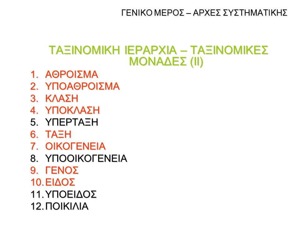 ΓΕΝΙΚΟ ΜΕΡΟΣ – ΑΡΧΕΣ ΣΥΣΤΗΜΑΤΙΚΗΣ ΓΕΝΙΚΟ ΜΕΡΟΣ – ΑΡΧΕΣ ΣΥΣΤΗΜΑΤΙΚΗΣ Η χρήση του όρου ταξινομική μονάδα (ένα taxon, πληθυντικός taxa)