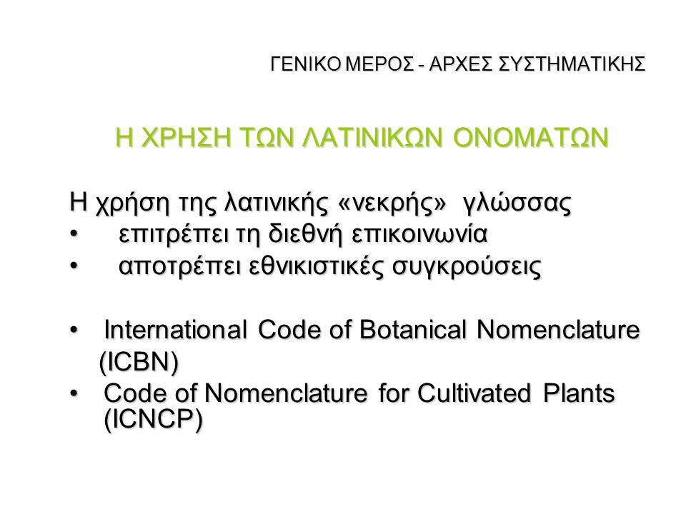 ΓΕΝΙΚΟ ΜΕΡΟΣ - ΑΡΧΕΣ ΣΥΣΤΗΜΑΤΙΚΗΣ Η ΧΡΗΣΗ ΤΩΝ ΛΑΤΙΝΙΚΩΝ ΟΝΟΜΑΤΩΝ Η χρήση της λατινικής «νεκρής» γλώσσας επιτρέπει τη διεθνή επικοινωνία επιτρέπει τη δ