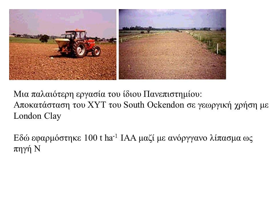 Μια παλαιότερη εργασία του ίδιου Πανεπιστημίου: Αποκατάσταση του XΥΤ του South Ockendon σε γεωργική χρήση με London Clay Εδώ εφαρμόστηκε 100 t ha -1 ΙΑΑ μαζί με ανόργγανο λίπασμα ως πηγή Ν