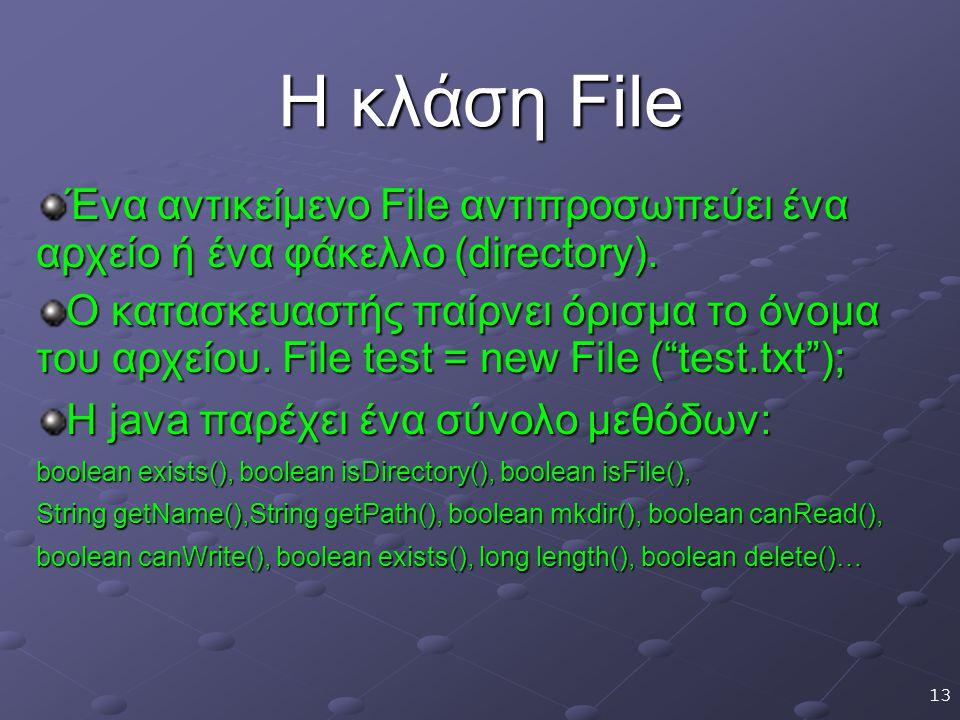13 Η κλάση File Ένα αντικείμενο File αντιπροσωπεύει ένα αρχείο ή ένα φάκελλο (directory).
